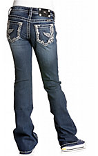 Miss Me® Girls Dark Wash w/ Embroidered Fleur De Lis Wings & Crystals Jean