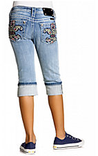 Miss Me® Girls Light Wash Multicolor Embroidered Fleur De Lis with Crystals Denim Cuff Capri