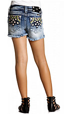 Miss Me® Girls Light Wash w/ Floral Embroidery & Crystals Frayed Denim Shorts
