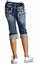 Miss Me® Girls Stonewash Silver Embroidered & White Leather Cross w/ Crystals Cuffed Denim Capri