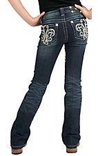 Miss Me® Girls' Silver Leather Fleur De Lis with Crystals Jean