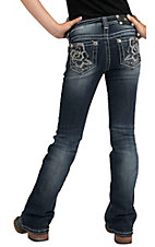 Miss Me® Girls Black Leather & Silver Embroidered Rose with Crystals Jean