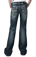 Miss Me® Girls Winged Cross w/ Crystals & Studs Open Pocket Boot Cut Jean