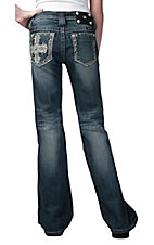 Miss Me® Girls Single Cross w/ Crystals Open Pocket Boot Cut Jean