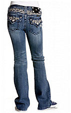 Miss Me® Girls Light Stonewash Fleur De Lis & Crystals Flap Pocket Boot Cut Jean
