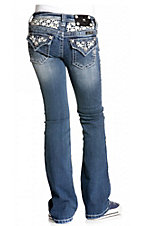 Miss Me® Girls Light Stonewash w/ White Embroidered Daisy Flap Pocket Jean