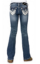 Miss Me® Girls Medium Stonewash w/ Western Lace Flap Pocket Jean