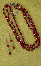 Red and Silver Beaded 3 Strand Necklace and Earrings Jewelry Set