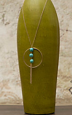 Pannee® Gold with Circle, Turquoise and Tassel Long Necklace