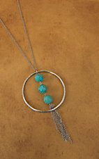 Pannee® Silver with Circle, Turquoise and Tassel Long Necklace