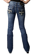 Miss Me® Ladies Cream Leather Cross w/ Crystals & Studs Flap Pocket Boot Cut Jean