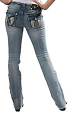 Miss Me® Women's Light Wash with White Leather Wings Flap Pockets Boot Cut Jean