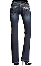 Miss Me® Ladies Medium Wash Bliny Bling Rhinestone Flap Pocket Boot Cut Jean