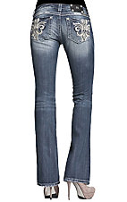 Miss Me® Ladies Cream Leather Fleur De Lis w/ Crystals & Studs Boot Cut Jean - Extended Sizes