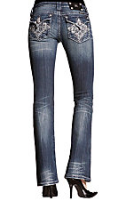 Miss Me® Ladies Medium Wash Embroidered Swirl Cross Boot Cut Jeans