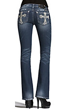 Miss Me® Ladies Garden Leather Cross Boot Cut Jean - Extended Sizes