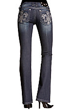 Miss Me® Ladies Dark Wash Zebra Fleur De Lis w/ Crystals Boot Cut Jean - Extended Sizes