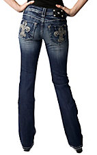 Miss Me® Ladies Embroidered Fleur De Lis w/ Crystals & Studs Boot Cut Jean - Extended Sizes