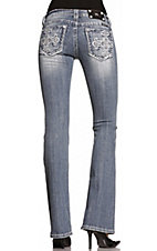 Miss Me® Ladies Pueblo Cross w/ Crystals & Studs Boot Cut Jeans - Extended Sizes