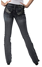 Miss Me® Women's Medium Wash French Peacock Feather Open Pocket Boot Cut Jean - Extended Sizes