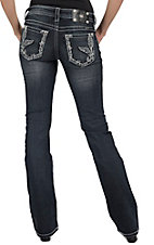 Miss Me® Women's Medium Wash Glitz Fleur de Lis Wing With Border Boot Cut Jean - Extended Sizes