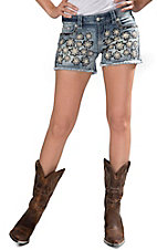 Miss Me® Women's Fron Floral Light Wash with Embroidered Flap Pockets Frayed Shorts