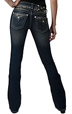 Miss Me� Women's Dark Wash with Four Color Rhinestone Insert Flap Pocket Boot Cut Jean