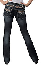 Miss Me® Women's Dark Wash Gold Sequins Insert  Flap Pocket Boot Cut Jean