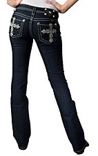 Miss Me® Womens White Leather Cross with Crystals Open Pocket Boot Cut Jean
