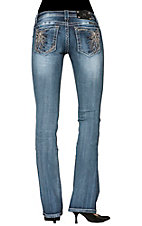 Miss Me® Women's Embroidered Floral Burst Open Pocket Boot Cut Jean