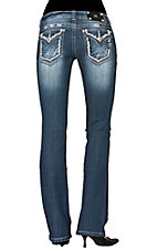 Miss Me® Womens White Swirl Outline Flap Pocket Boot Cut Jean