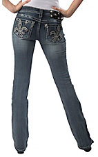 Miss Me® Women's Medium Wash Tilted Fleur de Lis Open Pocket Boot Cut Jean - Extended Sizes