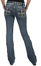 Miss Me® Women's Light Wash 60's Psychedelic Cross Boot Cut Jean - Extended Sizes
