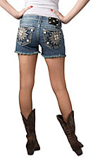 Miss Me® Womens Light Wash Embroidered Daisy with Crystals Open Pockets Cut Off Shorts