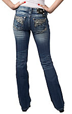 Miss Me® Womens Medium Wash Embroidered Wings w/ Crystals Open Pocket Boot Cut Jeans