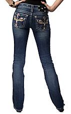 Miss Me® Womens Multicolor Winged Cross with Crystals Open Pocket Boot Cut Jean