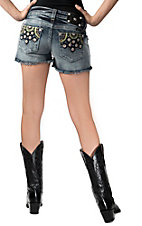 Miss Me® Women's Light Wash w/ Floral Embroidery & Crystals Frayed Denim Shorts