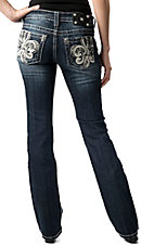 Miss Me® Womens White Leather Fleur De Lis with Crystals Open Pocket Boot Cut Jean