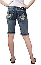 Miss Me® Womens Medium Wash White & Silver Leather Fleur de Lis Open Pocket Bermuda Denim Shorts