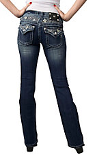 Miss Me® Womens Small Fleur De Lis with White Leather Waist & Flap Pocket Boot Cut Jean - Extended Sizes