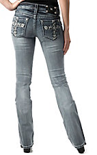 Miss Me® Womens White Leather Floral Cross with Crystals Open Pocket Boot Cut Jean
