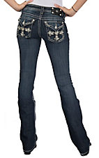 Miss Me® Womens Medium Wash Embroidered Cross, White Leather Flowers and Crystals Flap Pocket Boot Cut Jeans