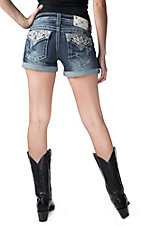 Miss Me Women's Medium Wash Spring Embellished Button Flap Denim Shorts