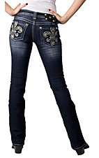 Miss Me® Ladies Black Leather & Embroidered Fleur de Lis Open Pocket Boot Cut Jean