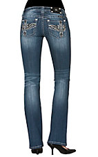 Miss Me® Women's Cross with Wings Open Pocket Boot Cut Jean