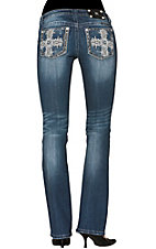 Miss Me® Women's Large Cross Open Pocket Boot Cut Jean
