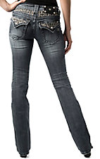 Miss Me® Womens Fleur De Lis with Crystals Waist & Flap Pocket Boot Cut Jean