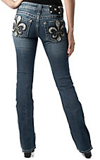 Miss Me® Womens White Snakeprint & Black Fleur De Lis w/ Crystals Open Pocket Boot Cut Jean