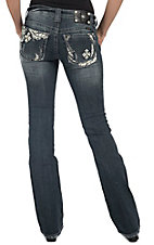 Miss Me® Women's Light Wash w/ White Leather Cross Boot Cut Jean - Extended Sizes