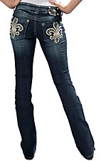 Miss Me® Women's Dark Wash Leather Fleur w/ Flowers, Studs and Crystal Open Pocket Boot Cut Jean